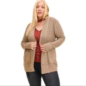 NEW Tan Cardigan Open Front Pockets Plus Size 1XL